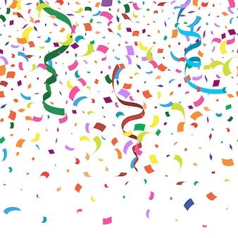 Fondo abstracto colorido con muchas piezas de confeti cayendo