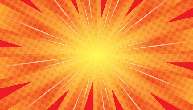 Fondo abstracto cómic de arte pop rayos de luz dispersos zoom con cuadrados de semitonos