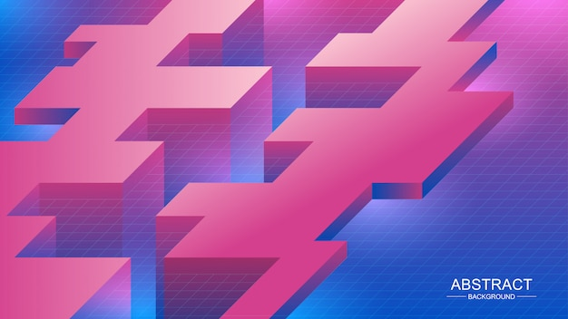 Fondo abstracto. composición con forma isométrica.