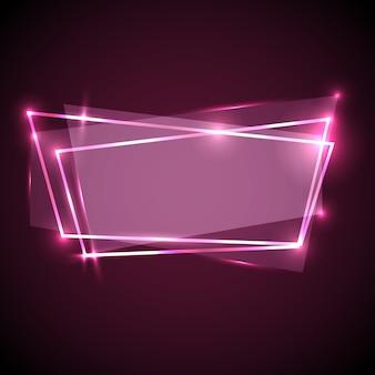 Fondo abstracto con banner de neón rosa