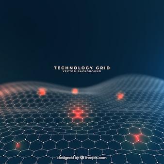 Fondo abstracto con rejilla de tecnología