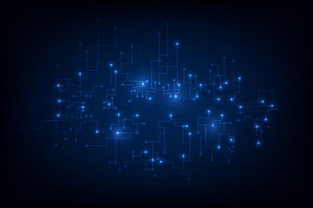 Fondo abstracto del concepto del blockchain del establecimiento de una red del circuito
