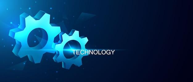 Fondo abstracto del concepto de la comunicación del engranaje de la tecnología