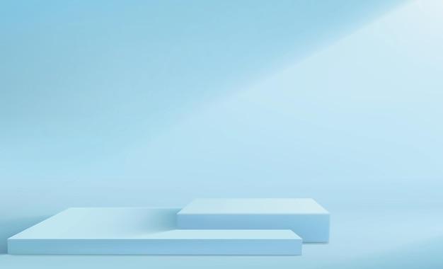 Fondo abstracto con un conjunto de pedestales en colores azul pastel. soportes de exhibición vacíos cuadrados.