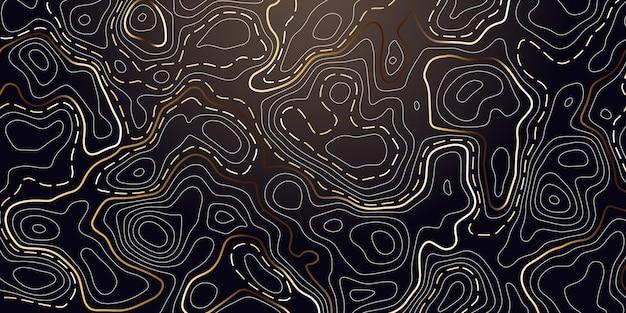 Fondo abstracto con contorno topográfico de oro.