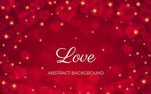 Fondo abstracto de corazón bokeh rojo