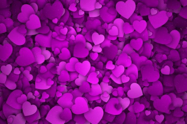 Fondo abstracto de corazones de papel violeta 3d