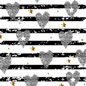 Fondo abstracto con corazones plateados y estrellas doradas en una ilustración de vector de fondo rayado