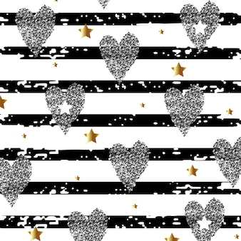 Fondo abstracto con corazones plateados y estrellas doradas sobre un fondo rayado. ilustración vectorial