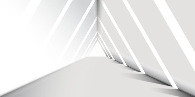 Fondo abstracto corredor triángulo blanco