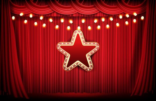 Fondo abstracto de cortina roja y estrella de neón brillante