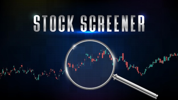 Fondo abstracto del cribador del mercado de valores con lupa e indicador gráfico de análisis técnico