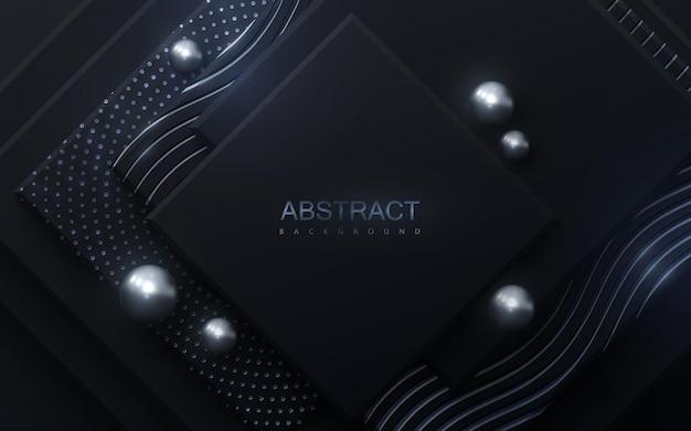 Fondo abstracto con cuadrados negros y brillos plateados