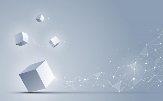 Fondo abstracto de cubos 3d, fondo de ciencia y tecnología,