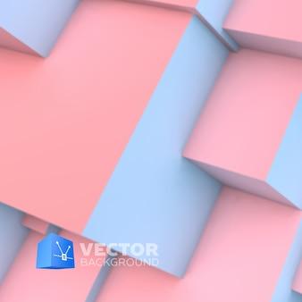 Fondo abstracto con cubos superpuestos de cuarzo rosa y serenidad