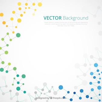 Fondo abstracto de moléculas de colores en diseño plano