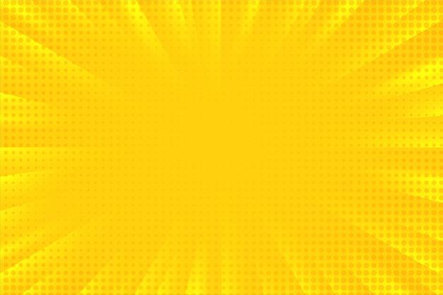 Fondo abstracto de dibujos animados comic zoom amarillo rayos luz difusa con puntos de semitono.