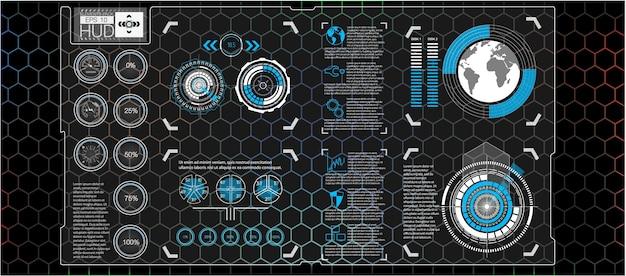 Fondo abstracto con diferentes elementos del hud. elementos de hud, gráfico. ilustración elementos de visualización frontal para elementos de infografía.