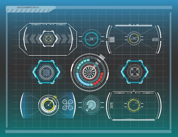 Fondo abstracto con diferentes elementos del hud. elementos de hud. ilustración. elementos de visualización frontal para elementos de información gráfica.