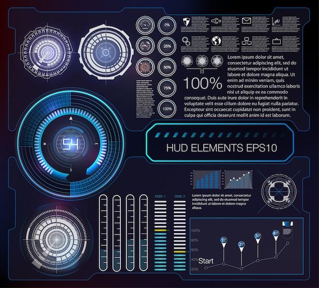 Fondo abstracto con diferentes elementos del hud. elementos de hud.