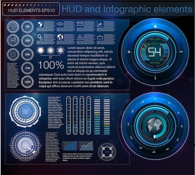 Fondo abstracto con diferentes elementos del hud.