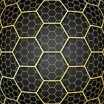 Fondo abstracto con diseño de células de panal de oro
