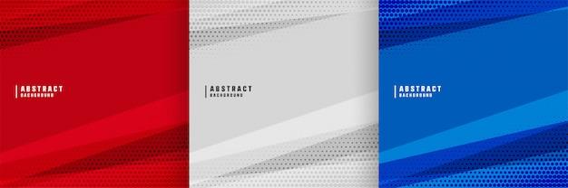 Fondo abstracto con diseño de formas geométricas en tres colores.