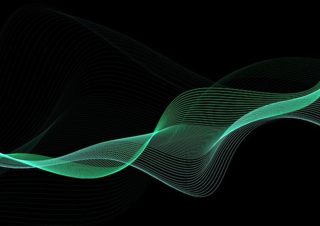 Fondo abstracto con diseño de líneas fluidas verdes