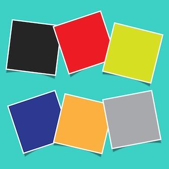 Fondo abstracto con un diseño de montaje de marco de fotos en blanco