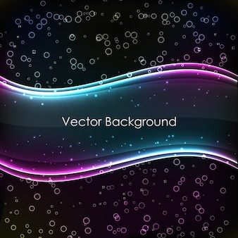 Fondo abstracto con dos ondas transparentes brillantes de color y degradado sobre fondo negro