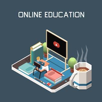 Fondo abstracto de educación en línea con personaje masculino sentado en el escritorio en un teléfono inteligente grande y mirando la pizarra con el icono de video de inicio isométrico
