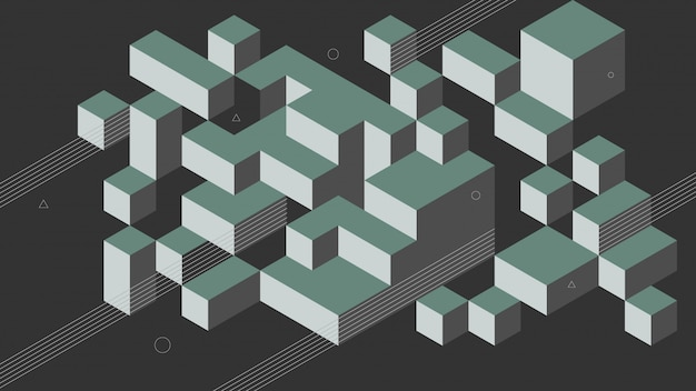 Fondo abstracto con elementos isométricos de una caja de cubo. con colores retro o vintage.