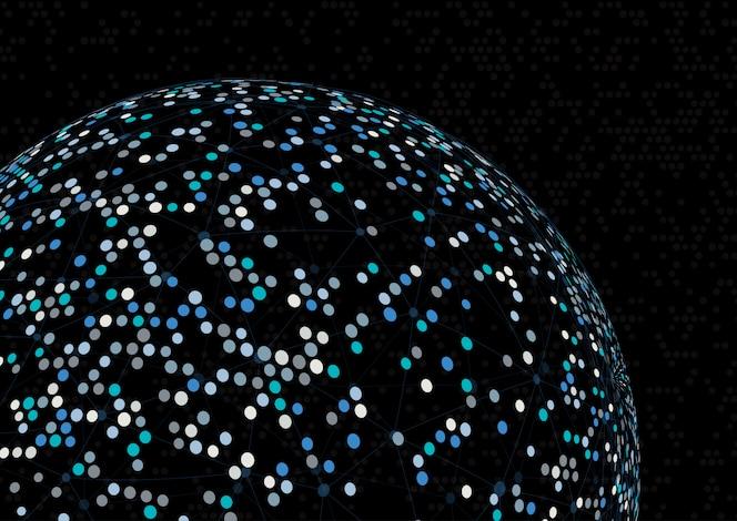 Fondo abstracto esfera con líneas y puntos de conexión