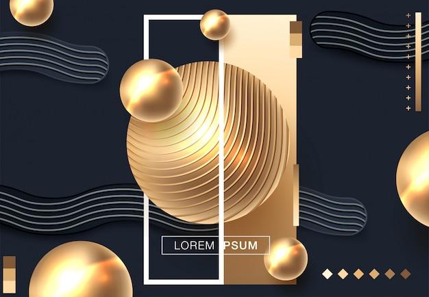 Fondo abstracto con esferas en color dorado y negro.