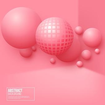 Fondo abstracto de esferas flotantes. bolas de color rosa 3d.