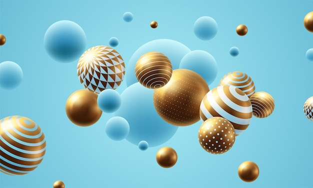 Fondo abstracto de esferas voladoras. ilustración vectorial