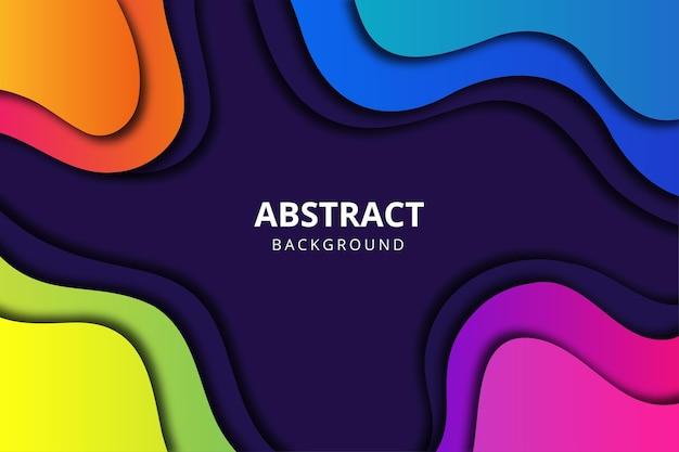 Fondo abstracto en estilo papercut colorido con forma de flujo