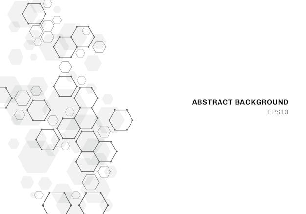 Fondo abstracto con estructura de molécula hexagonal del sistema de neuronas