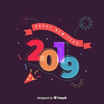 Fondo abstracto de feliz año nuevo 2019