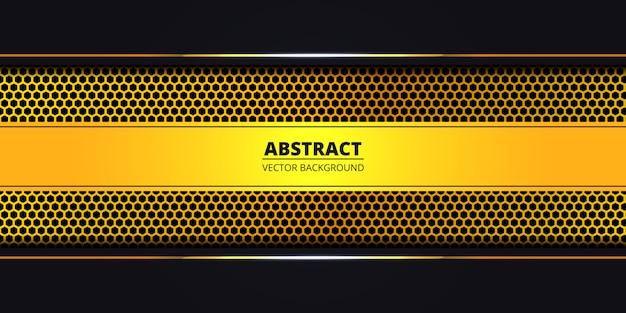 Fondo abstracto con fibra de carbono hexágono dorado. fondo de lujo con líneas luminosas doradas. telón de fondo futurista, moderno y de lujo. .