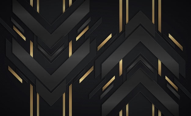 Fondo abstracto con flechas de oro y negro oscuro