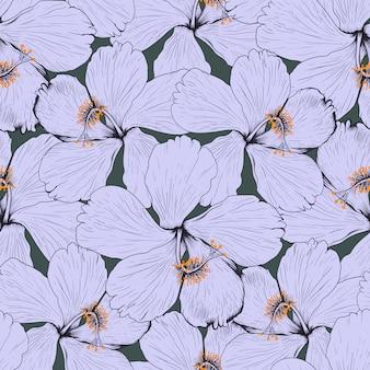 Fondo abstracto de flores de hibisco de patrones sin fisuras. ilustración dibujo diseño de tela.