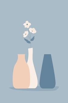 Fondo abstracto de flores y jarrones.