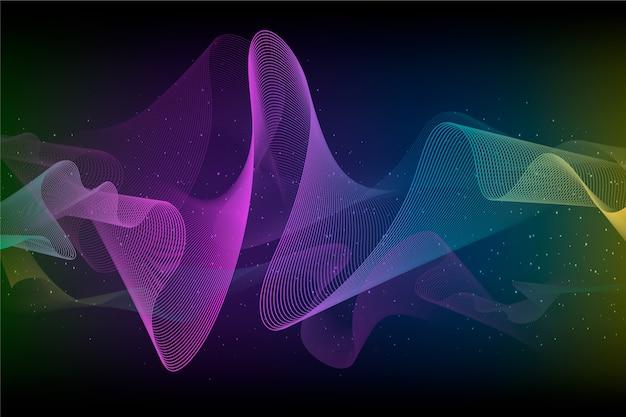 Fondo abstracto con forma ondulada de colores