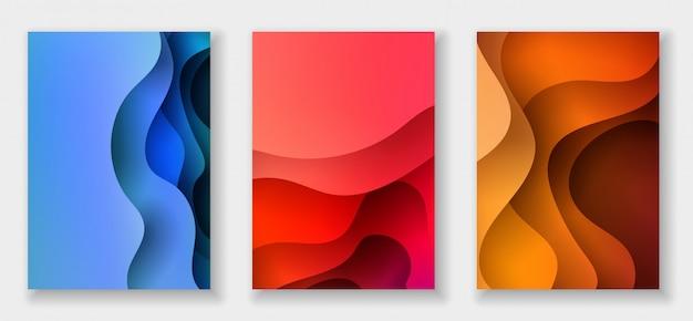 Fondo abstracto con formas de corte de papel