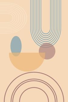 Fondo abstracto con formas geométricas y líneas con estampado de arco iris y círculo de sol