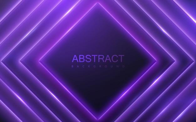 Fondo abstracto con formas geométricas negras y luz brillante de neón