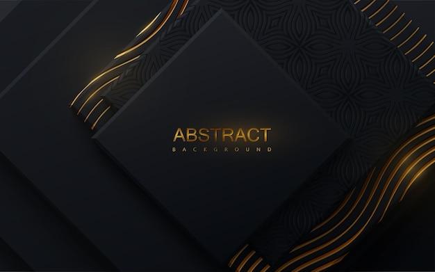 Fondo abstracto con formas geométricas negras y patrón dorado grabado