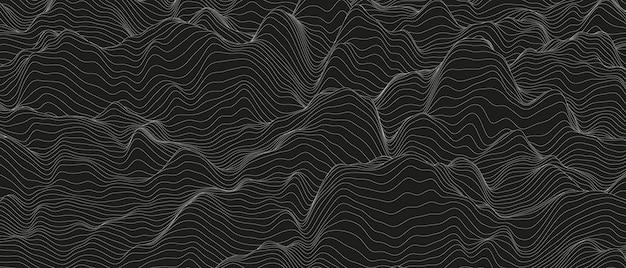 Fondo abstracto con formas de líneas distorsionadas sobre un fondo negro