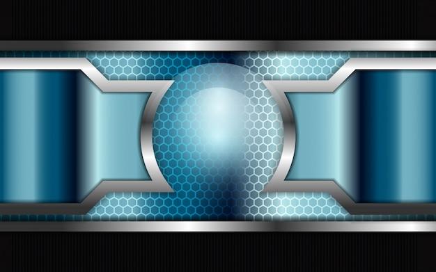 Fondo abstracto de formas metálicas plateadas y azules